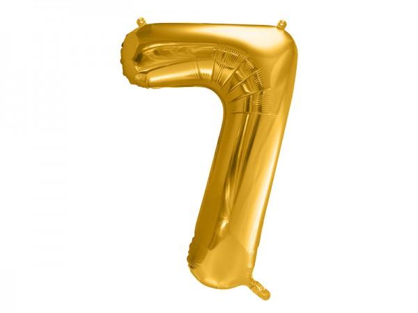 Paris Dekorace Foliový zlatý balónek číslice 7, 86 cm