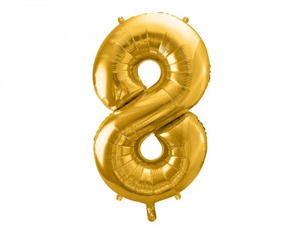 Paris Dekorace Fóliový zlatý balónek číslice 8, 86 cm