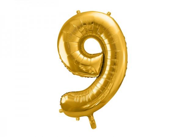 Paris Dekorace Foliový zlatý balónek číslice 9, 86 cm