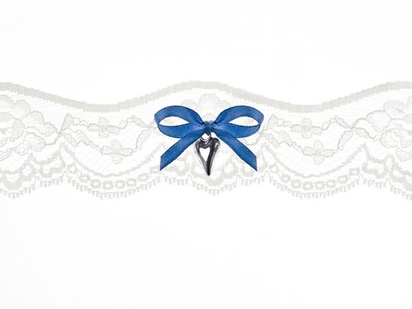 Paris Dekorace Svatební podvazek, krémový s modrou mašlí