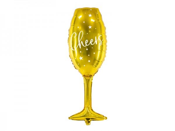 BALÓNEK fóliový Sklenice zlatá Cheers