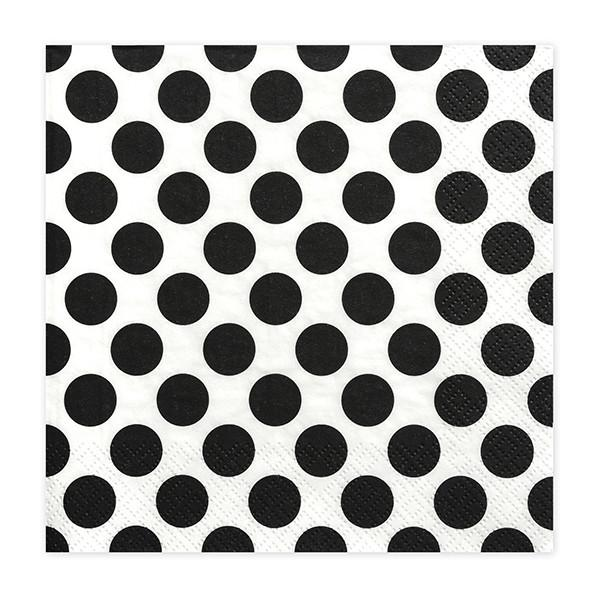 Paris Dekorace UBROUSEK 3vrstvy,33cm,bílý +černý puntík, 20ks