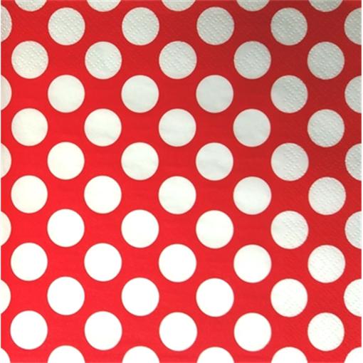 Paris Dekorace UBROUSEK 3vrstvy,33cm,červený +bílý puntík, 20ks