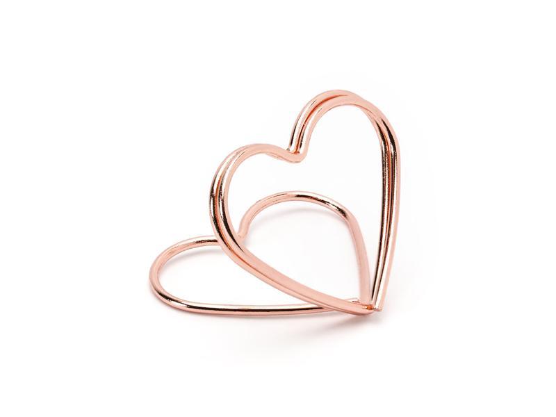 Paris Dekorace Stojánek na jmenovku srdce, růžové zlato