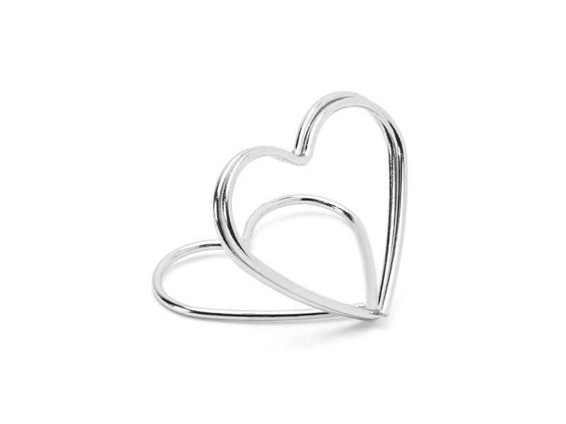 Paris Dekorace Stojánek na jmenovky srdce, stříbrné