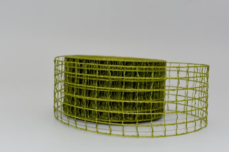 Paris Dekorace Stuha síťovaná olivová  5cm/10m