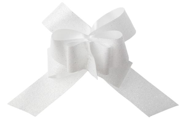 Paris Dekorace Glitrová stahovací mašle bílá, 30 mm