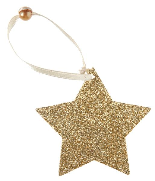 Paris Dekorace Gliterované závěsné zlaté hvězdy 6 ks,  7 cm