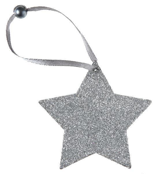 Paris Dekorace Gliterované závěsné stříbrné hvězdy 6 ks, 7 cm