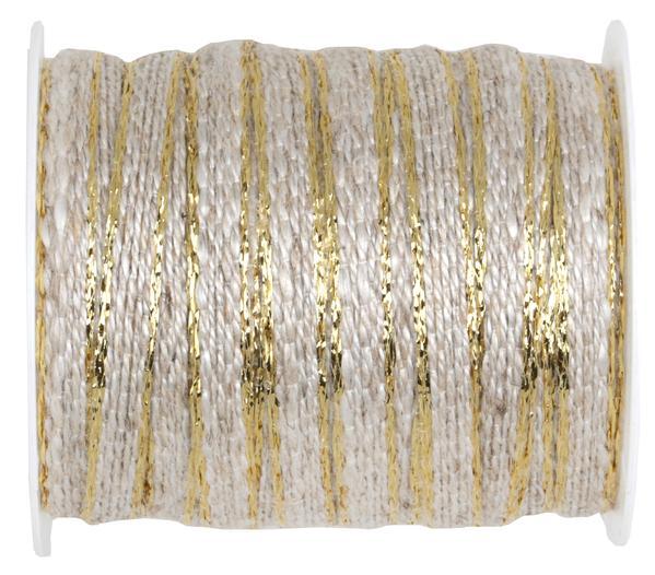 Paris Dekorace Ozdobná provázková stuha se zlatým okrajem 6 mm x 5 m