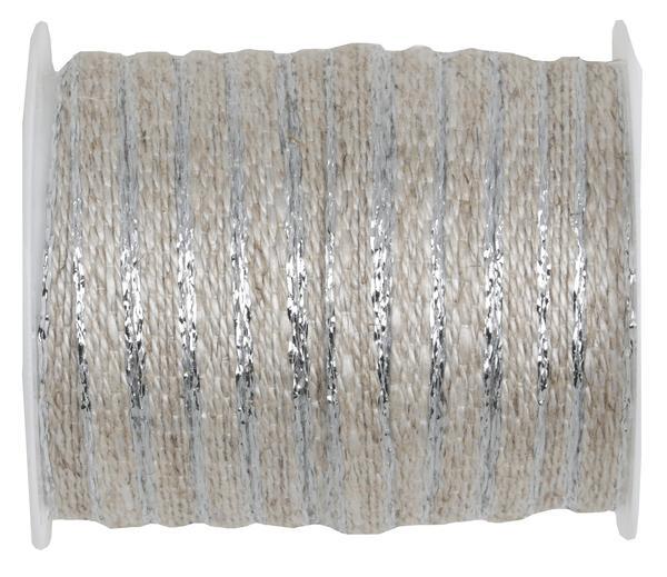 Paris Dekorace Ozdobná provázková stuha se stříbrným okrajem 6 mm x 5 m