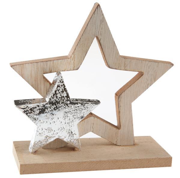 Paris Dekorace Dřevěná dekorace hvězdy 13 x 5 x 13 cm