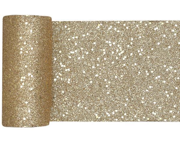 Paris Dekorace  Stolová šerpa glitrová zlatá, 13 cm x 5 m