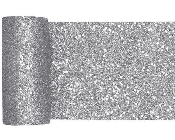 Paris Dekorace Stolová šerpa gliterová stříbrná, 13 cm x 5 m
