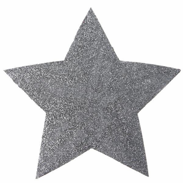 Paris Dekorace Glitrové stříbrné hvězdy 2 ks, 15 cm