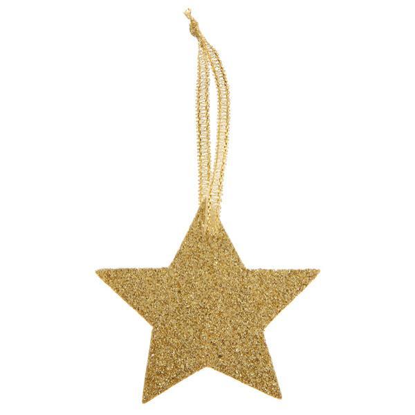 Paris Dekorace Jmenovky Zlatá hvězda glitrová, 6 ks