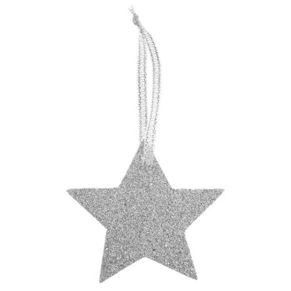 Paris Dekorace Jmenovky Stříbrná hvězda glitrová 6 ks