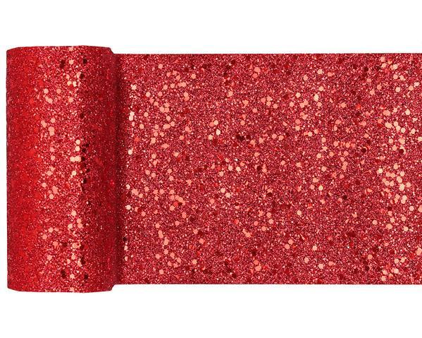 Paris Dekorace Stolová šerpa glitrová červená, 13 cm x 5 m