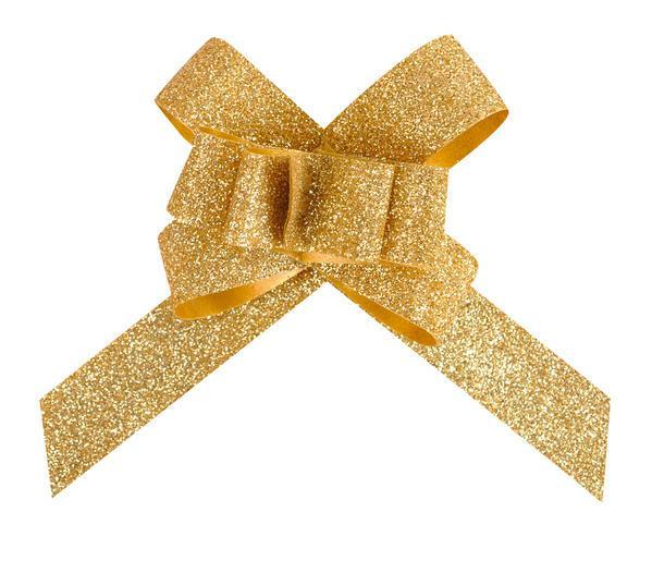 Paris Dekorace Glitrová stahovací mašle zlatá, 30 mm