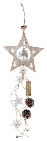 Paris Dekorace Závěsná dřevěná dekorace s hvězdou  67 cm