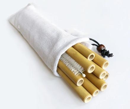 Paris Dekorace  SET 10 x Bambusové brčko 20 cm x 0,9 cm, rovné + čistící kartáček