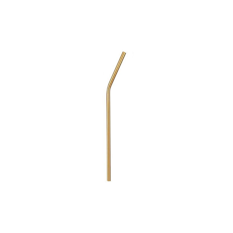Paris Dekorace Nerezové brčko 21,5 cm x 0,6 cm, zahnuté, zlaté