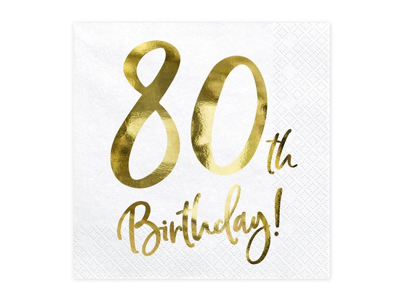 Paris Dekorace UBROUSKY 80. narozeniny bílé se zlatým nápisem
