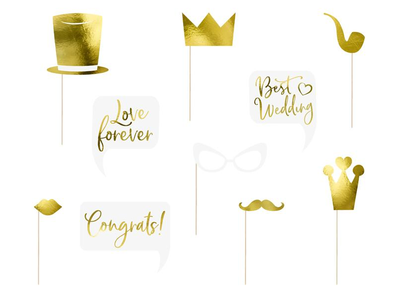 Paris Dekorace Svatební rekvizity zlaté, mix