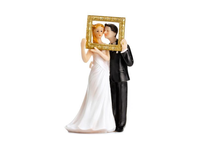 Paris Dekorace Svatební figurka nevěsta s ženichem s rámečkem
