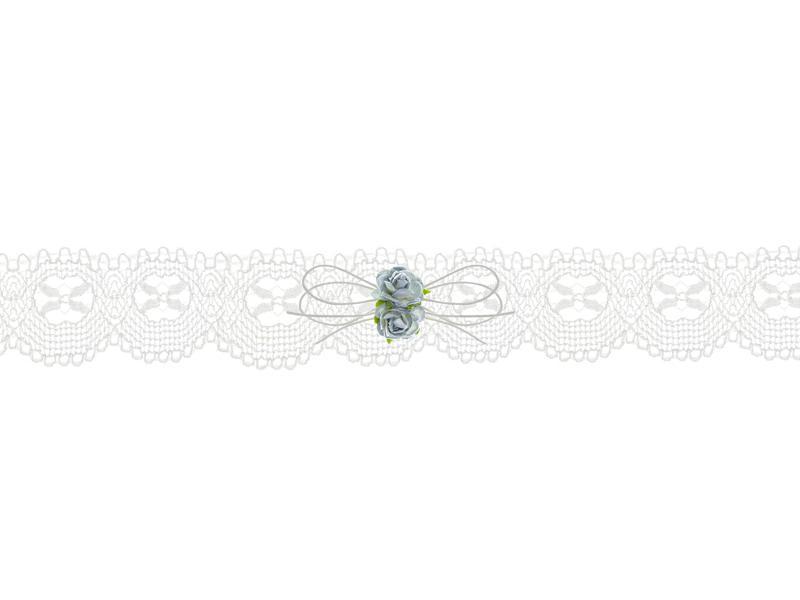 Paris Dekorace Podvazek svatební krajkový bílý s růžičkami