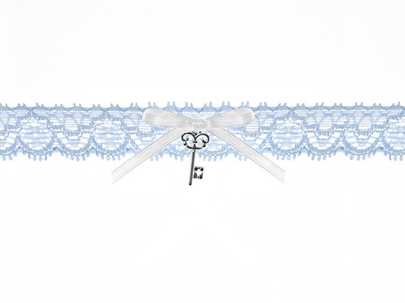 Paris Dekorace Svatební podvazek krajkový se stuhou a klíčkem, modrý