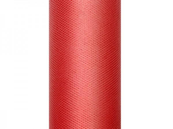 Paris Dekorace Tyl v roli, červený, šířka 15 cm, návin 9 m