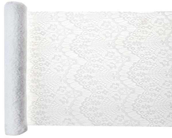 Paris Dekorace Šerpa stolová krajková Boho Chic bílá 3mx30cm