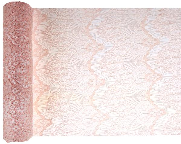 Paris Dekorace Šerpa stolová krajková Boho Chic růžová 3mx30cm