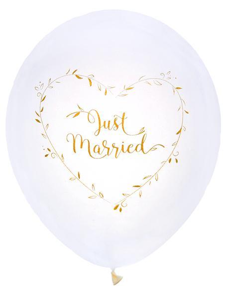 "Paris Dekorace Metalické balónky ""Just Married"" 8 ks, 25 cm"