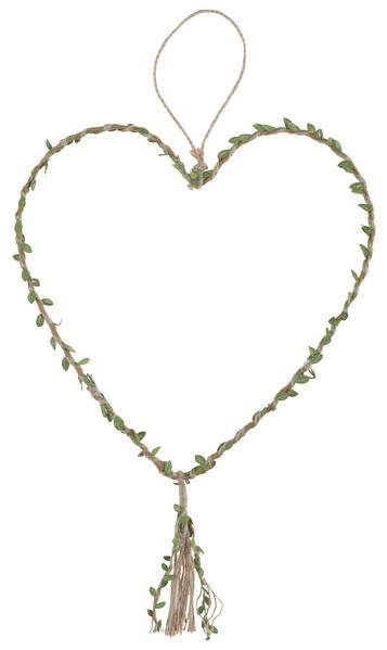 Paris Dekorace Přírodní závěsné srdce 30 x 77 cm