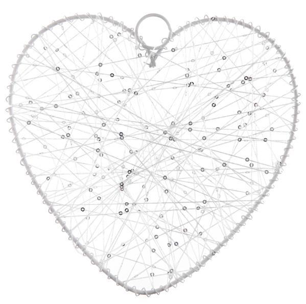 Paris Dekorace Velké bílé závěsné srdce s vlákny