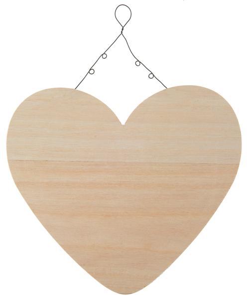 Paris Dekorace Dřevěné závěsné srdce, 25.5 x 25.5 x 9 cm