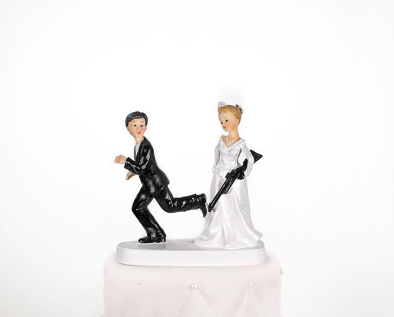 Paris Dekorace Svatební figurky nevěsta s puškou