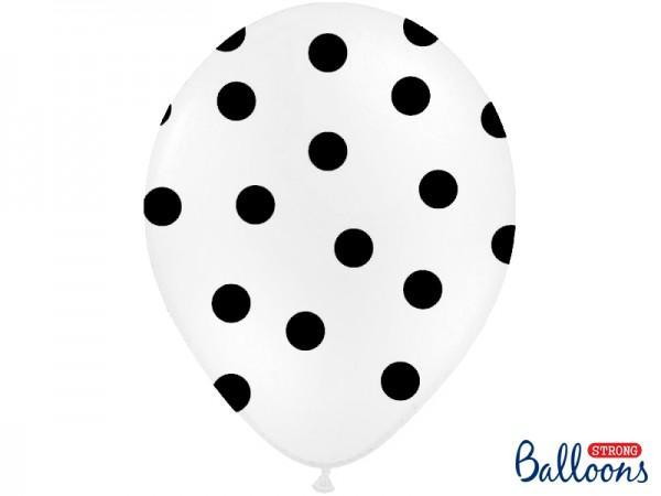 Paris Dekorace Svatební balonky 30cm bílo/černý puntík
