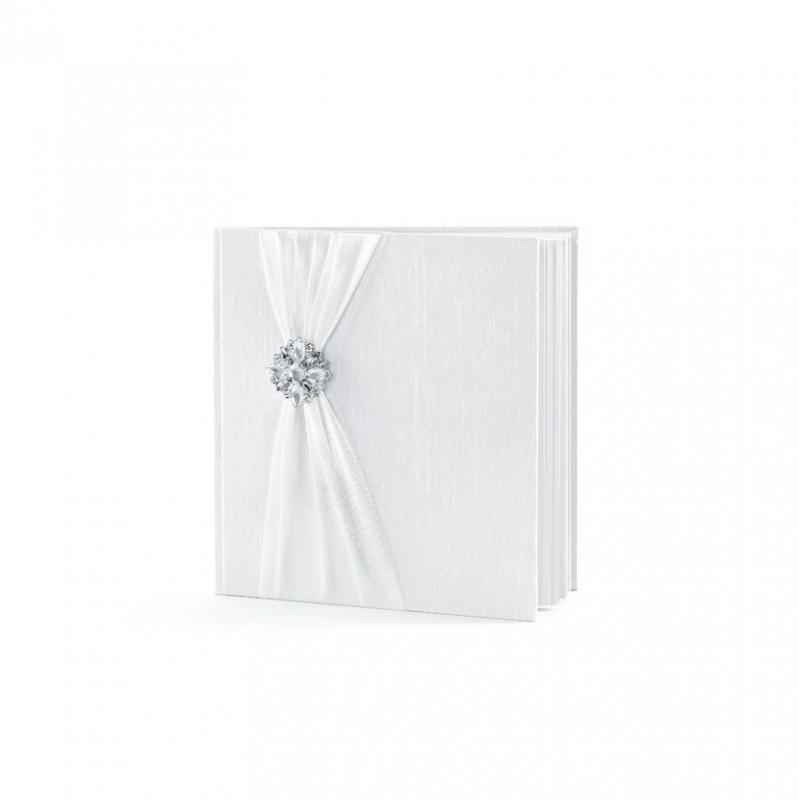 Paris Dekorace Svatební album s bílou stužkou a sponou