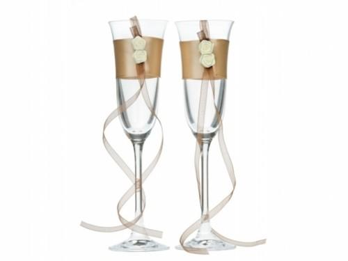 Paris Dekorace skleničky na šampaňské hnědo-zlatá