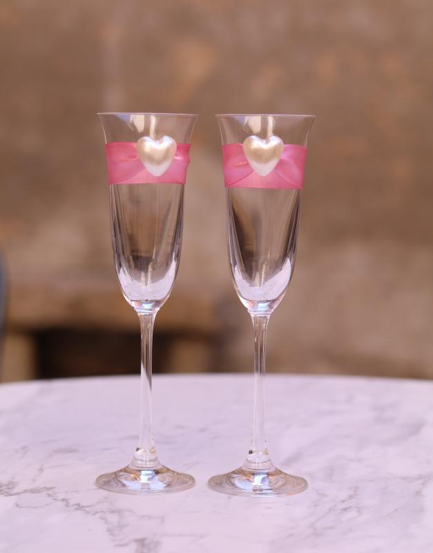 Paris Dekorace Skleničky na šampus s růžovou stuhou