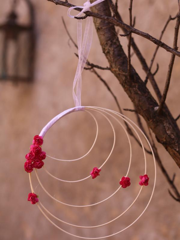 Paris Dekorace Ratanové věnečky růže  fushia