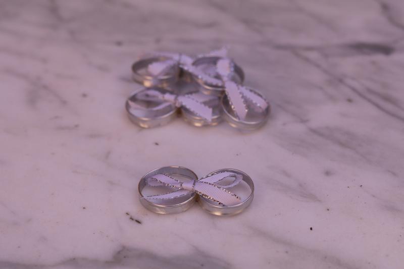 Paris Dekorace Zlaté prstýnky s mašličkou stříbrné