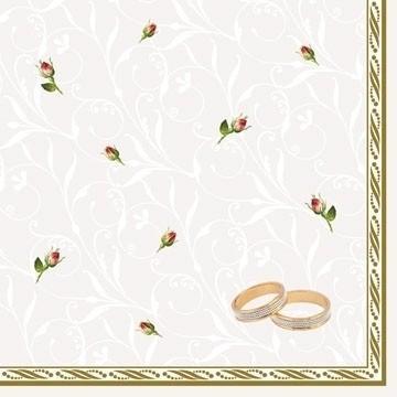 Paris Dekorace Ubrousek 3vrstvý, 33cm, růže + prstýnky, 20ks