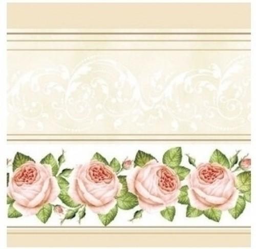 Paris Dekorace UBROUSEK 3vrstvy,33cm, ivory s růžema, 20 ks