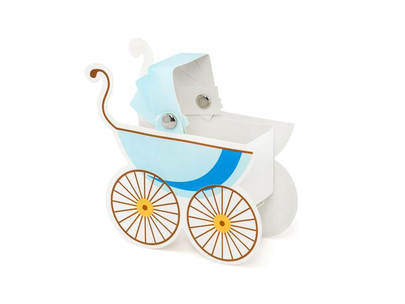 Paris Dekorace Krabička  kočárek světle modrý