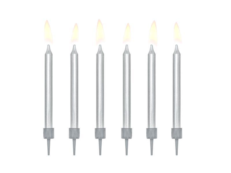 Paris Dekorace Narozeninové svíčky stříbrné 6 cm, 6 ks