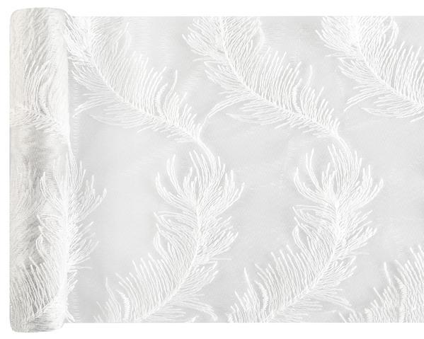 Paris Dekorace Stolová šerpa bílá peříčka 25cmx3m